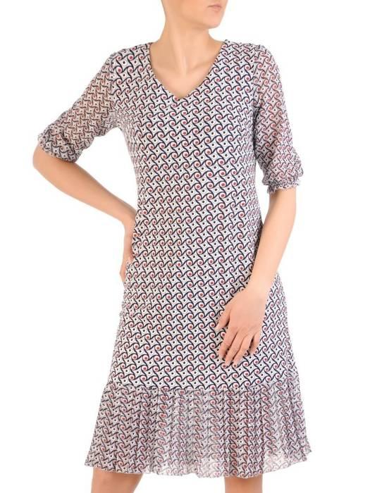 Dzianinowa sukienka z szyfonowymi rękawkami i plisami  29596