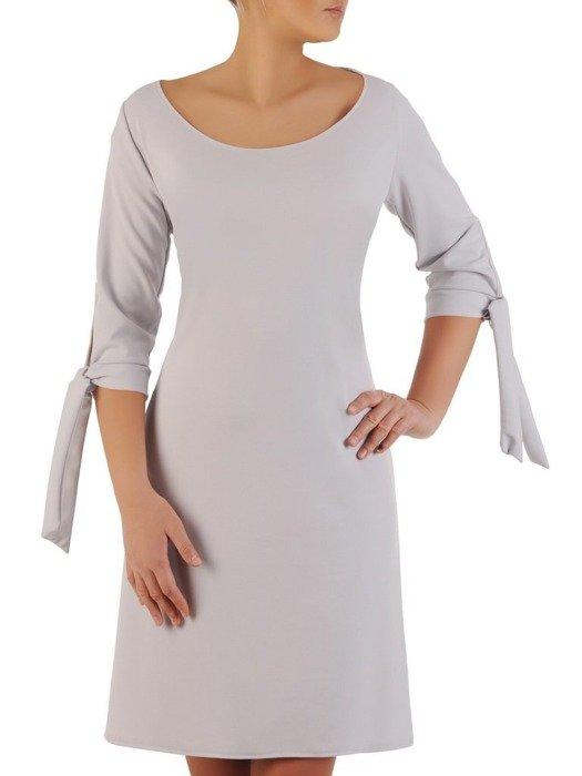 Sukienka z dzianiny, popielata kreacja z wiązaniem na rękawach 23016