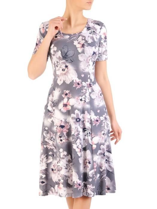 Sukienka z dzianiny, rozkloszowana kreacja damska 29588