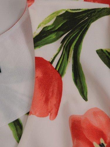 Sukienka z modnym wiązaniem w talii 16563, luźna kreacja w kwiaty.