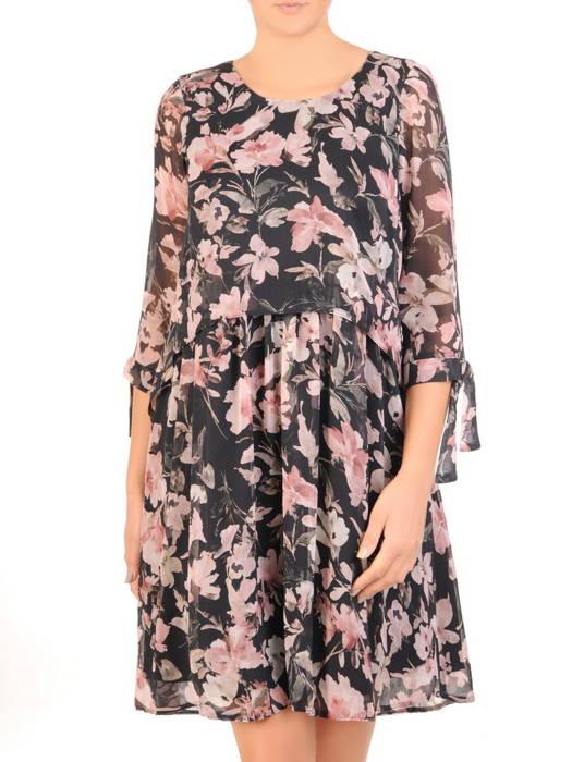 Wizytowa sukienka damska, kreacja w luźnym fasonie 30717