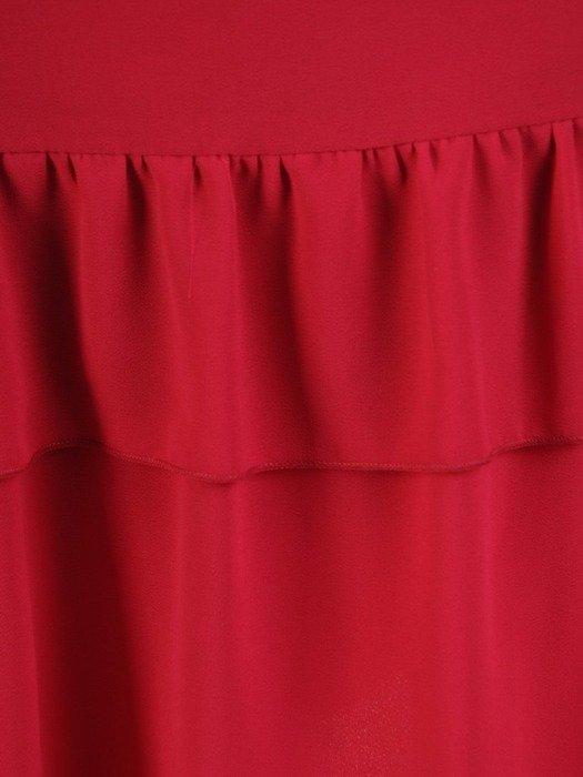 Amarantowa sukienka z szyfonową falbaną 25141