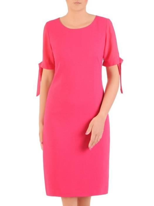 Amarantowa sukienka z szyfonowymi rękawami 30033