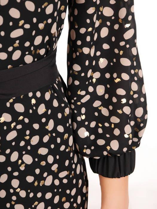 Asymetryczna sukienka z szyfonu z modnym paskiem 31090