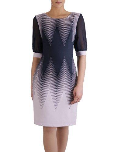 Atrakcyjna sukienka w geometryczny, wyszczuplający wzór 15160.