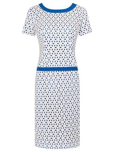 Ażurowa sukienka Larysa I, modna kreacja z ozdobnymi lamówkami.
