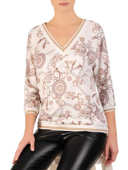 Bawełniana bluza z oryginalnym nadrukiem i złotymi lamówkami 31045