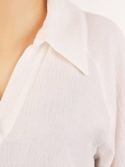 Bawełniana bluzka koszulowa z bufiastymi rękawami 31130