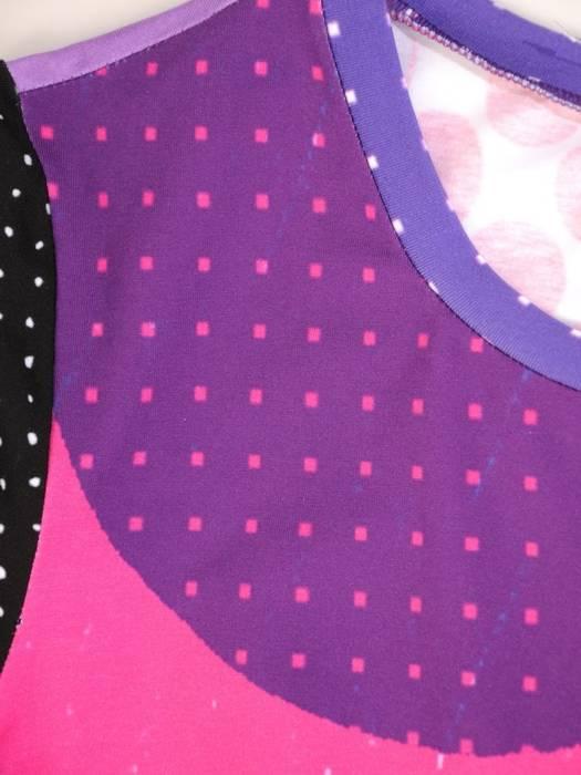 Bawełniana, wzorzysta sukienka z kieszeniami i gumką na dole 30085
