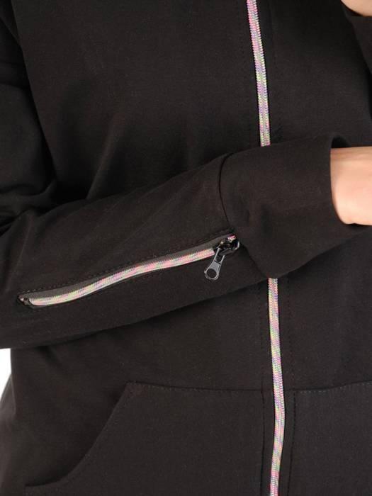 Bawełniany dres damski, bluza z kapturem zapinana na zamek 29627