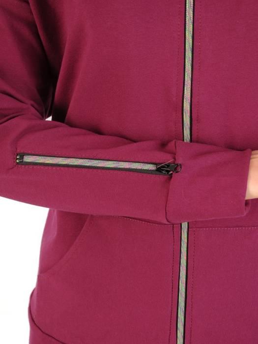 Bawełniany dres damski, bluza z kapturem zapinana na zamek 29685