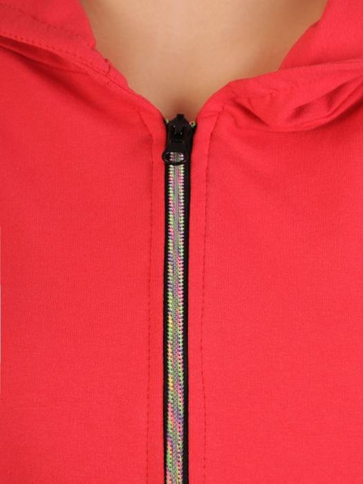 Bawełniany dres damski, bluza z kapturem zapinana na zamek 29700