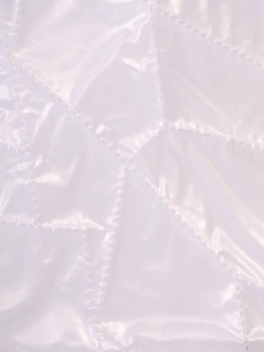 Biała, asymetryczna kamizelka z pikowanej tkaniny z kapturem 30638
