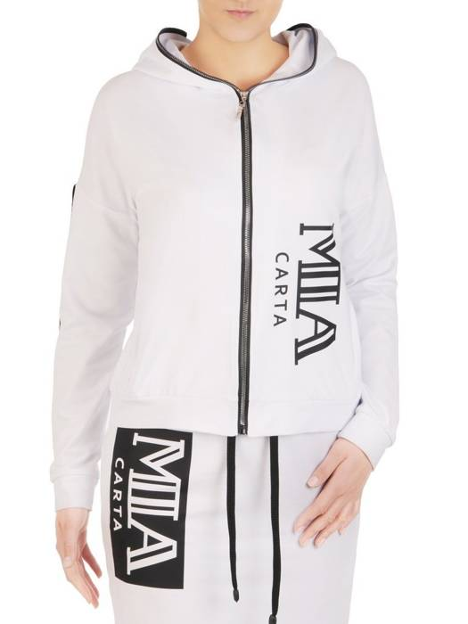 Biała bluza damska z kapturem 28267