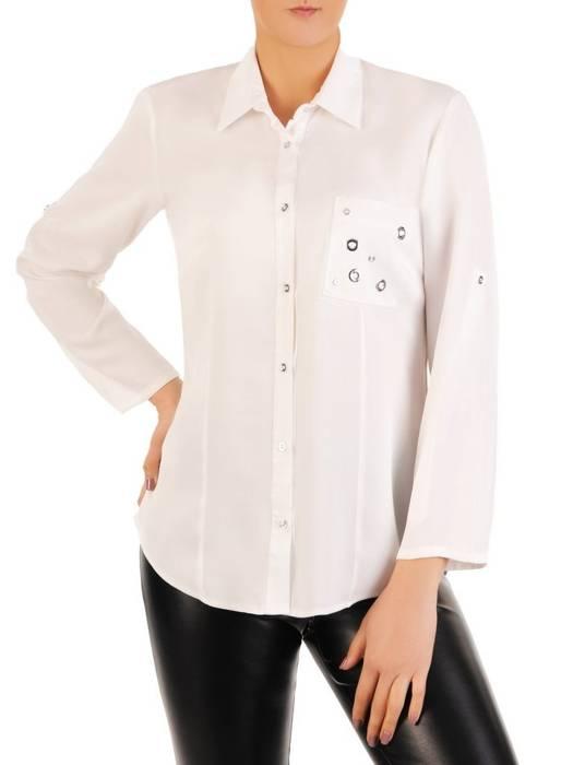 Biała koszula z ozdobną kieszonką 29045