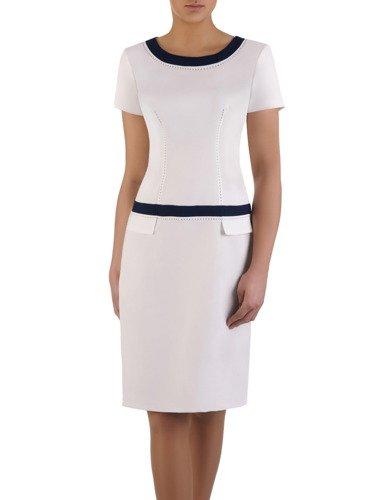 Biała sukienka z lamówkami Ksawera VII, klasyczna kreacja na wiosnę.