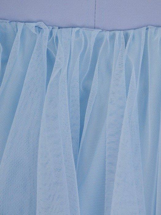Błękitna sukienka gorsetowa, kreacja z tkaniny i tiulu 24887