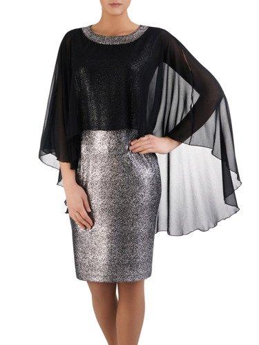 Błyszcząca sukienka Flawia II, kreacja z szyfonową narzutką.