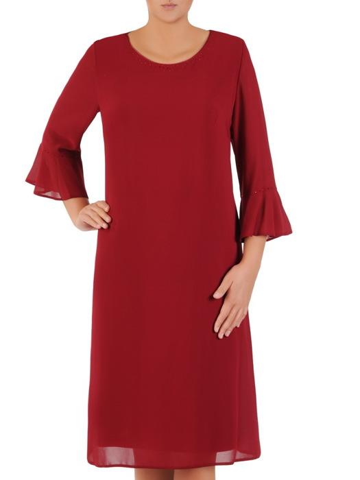 Bordowa sukienka z szyfonu, luźna kreacja z modnymi rękawami 21836