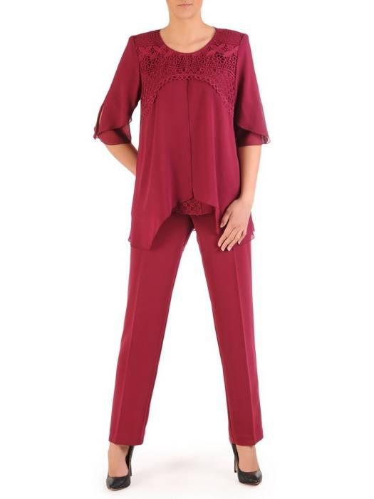 Bordowy komplet damski, eleganckie spodnie z luźną bluzką 29582