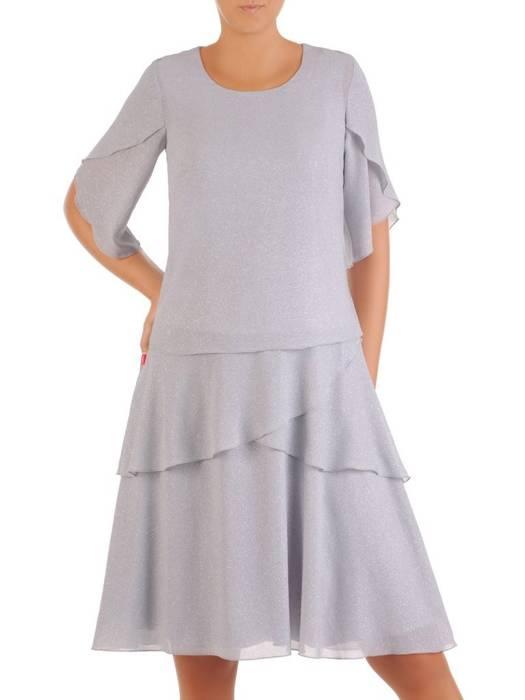 Brokatowa, popielata sukienka maskująca biodra 26929