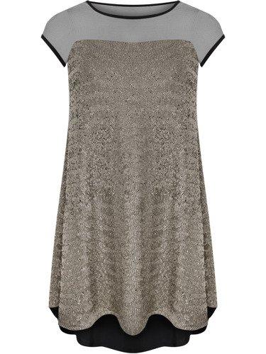 Cekinowa sukienka z siateczkowym dekoltem Kleopatra I, oryginalna kreacja wieczorowa.