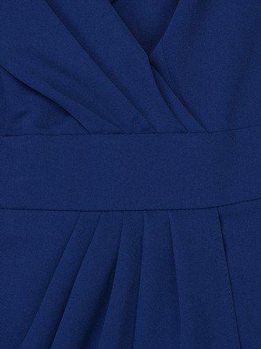 Chabrowa sukienka w wyszczuplającym fasonie Bonita I, wiosenna kreacja kopertowa.