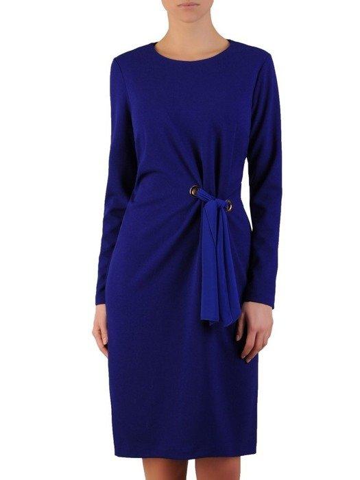 Chabrowa sukienka z dzianiny, kreacja z ozdobnym wiązaniem w pasie 23966