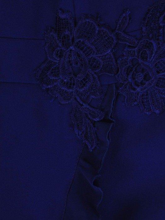 Chabrowa sukienka z szyfonowymi rękawami i falbanką 24824