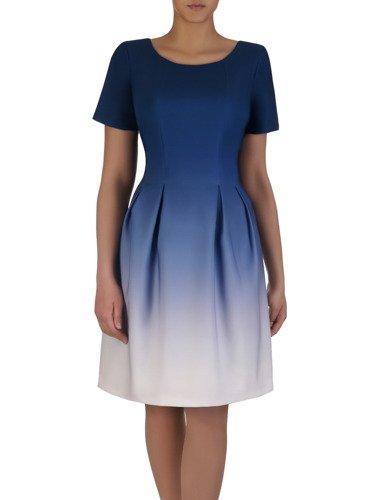 Cieniowana sukienka z kontrafałdami 15207, elegancka kreacja w modnych kolorach.