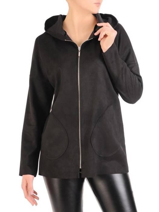 Czarna bluza zamszowa z kapturem 29407