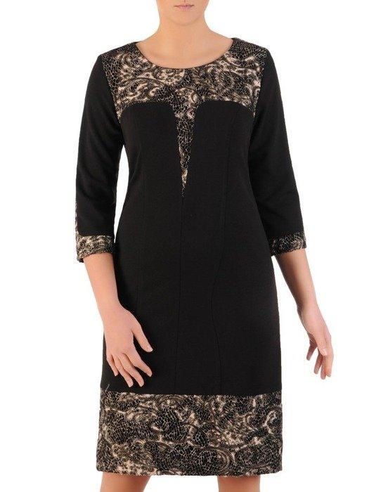 Czarna sukienka z dzianiny, kreacja z koronkowymi wstawkami 24312