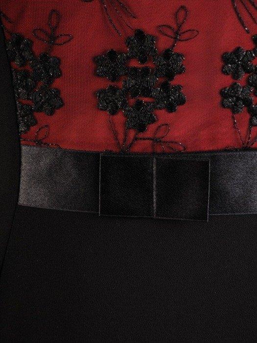 Czarna sukienka z koronkowym gorsetem, kreacja z łączonych tkanin 24250
