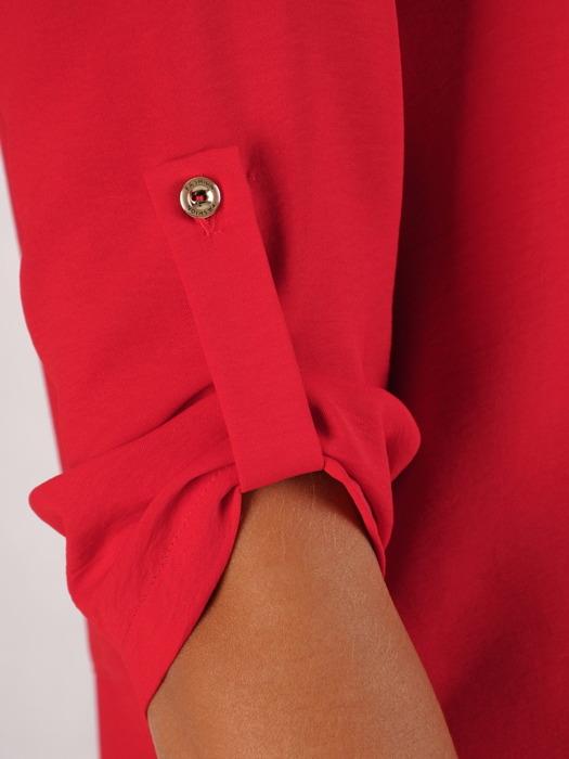 Czerwona bluzka z podwijanymi rękawami 22268