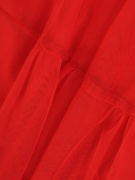 Czerwona efektowna, koronkowa sukienka z tiulowym dołem 27979