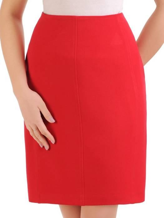 Czerwona spódniczka damska z wyszczuplającymi przeszyciami 29412