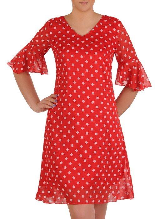 Czerwona sukienka w grochy, zwiewna kreacja z szyfonu 20439.