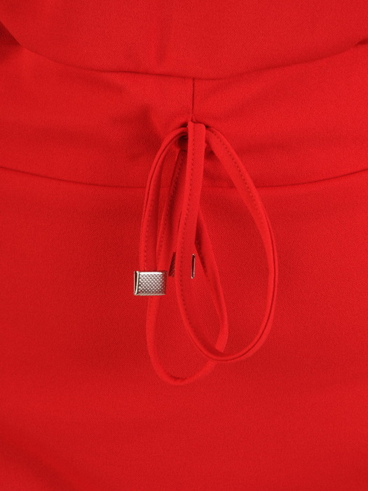 Czerwona sukienka z ozdobnym ściągaczem, modna kreacja z dzianiny 22663
