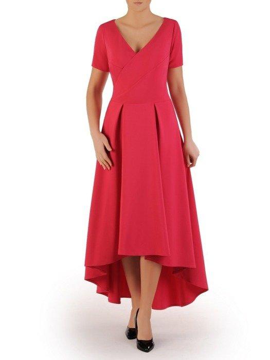 Długa sukienka kopertowa, kreacja z ozdobą na plecach 22747