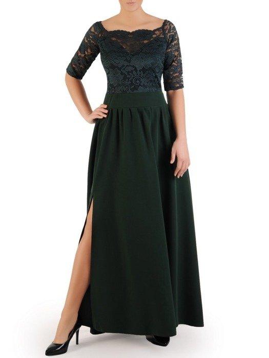 Długa sukienka z koronkowym topem, kreacja z modnym dekoltem 22912