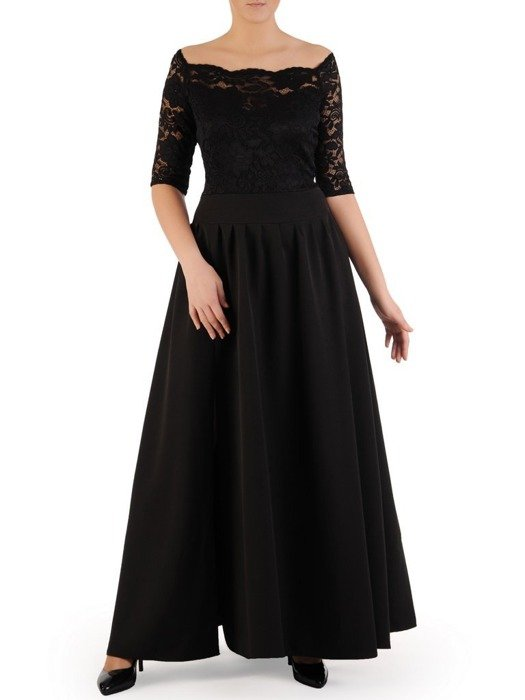 Długa sukienka z koronkowym topem, kreacja z modnym dekoltem 22913