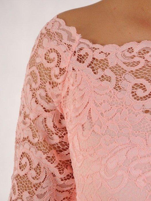 Długa sukienka z koronkowym topem, kreacja z modnym dekoltem 22924