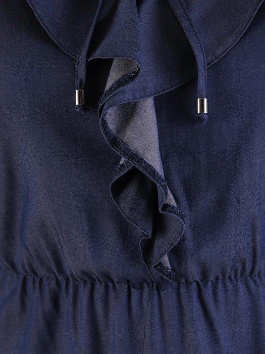 Długa sukienka z modnym żabotem 17396, elegancka sukienka na jesień.