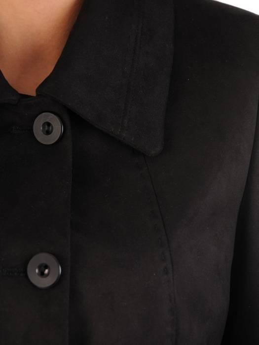 Długi zamszowy płaszcz zapinany na guziki 28506