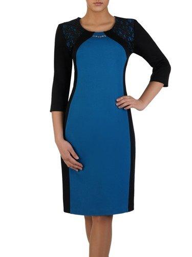 Dwukolorowa sukienka wyszczuplająca 14698, kreacja z koronkowymi wstawkami.