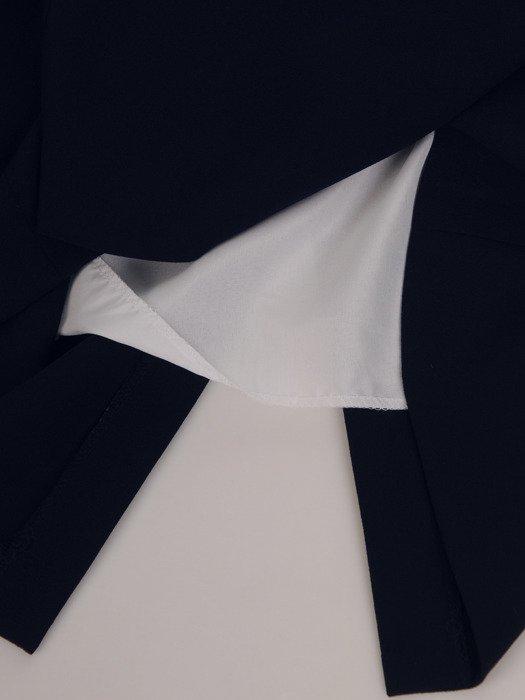 Dwukolorowa sukienka z nowoczesnym żakietem 17125, modny kostium wizytowy.