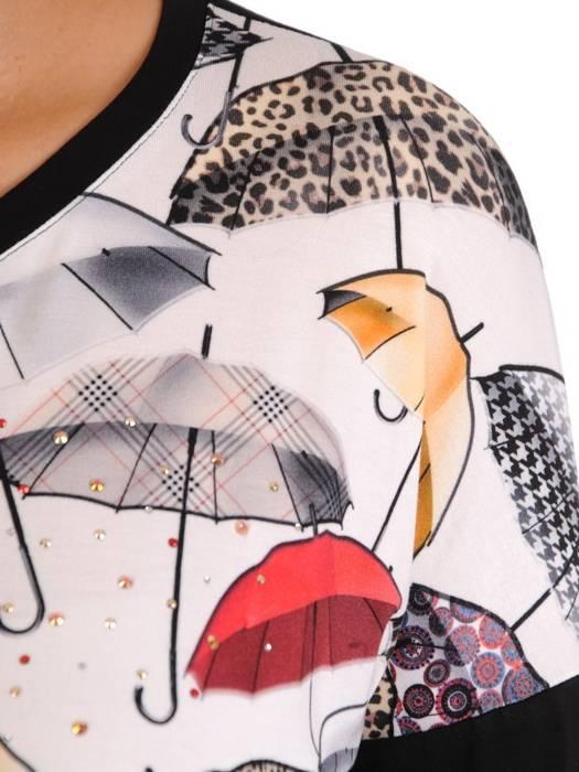 Dzianinowa bluzka z efektownym nadrukiem 27866
