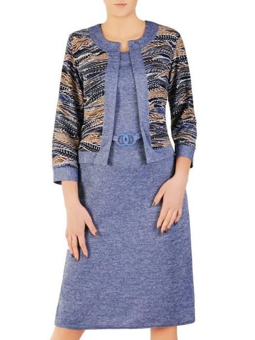Dzianinowa sukienka, kreacja z imitacją żakietu  28664