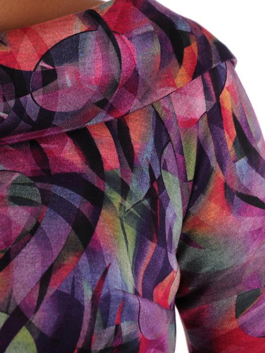 Dzianinowa sukienka na jesień, kreacja w nowoczesnym wzorze 22093.
