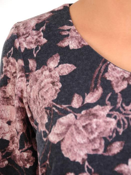 Dzianinowa sukienka w kwiaty z ozdobną falbaną po skosie 31006